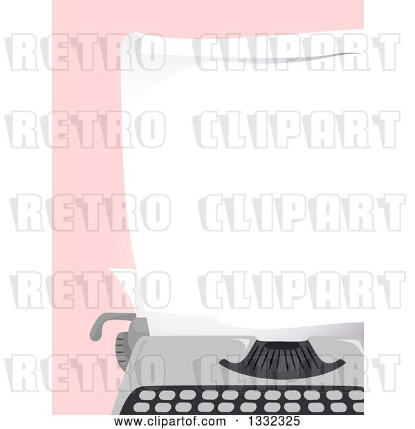 Vector Clip Art of Retro Blank Piece of Paper in a Typewriter over Pink