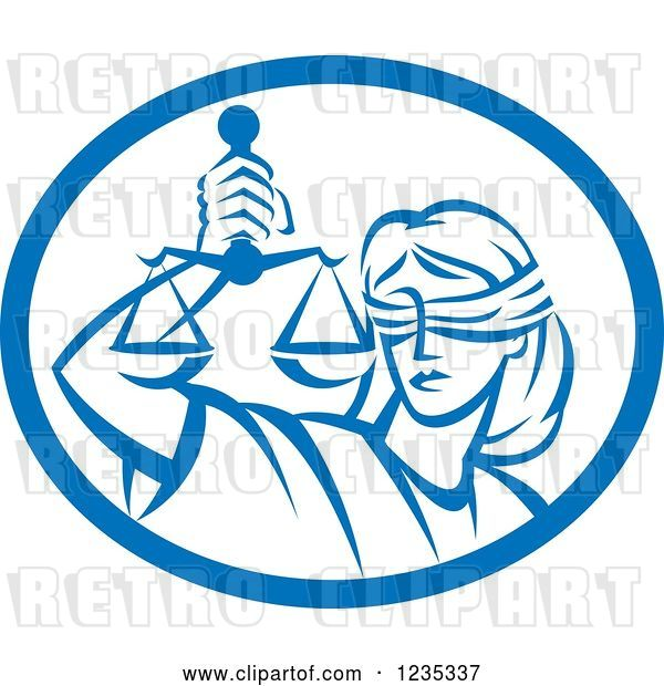 Vector Clip Art of Retro Blindfolded Lady Justice Holding Scales in a Blue and White Oval