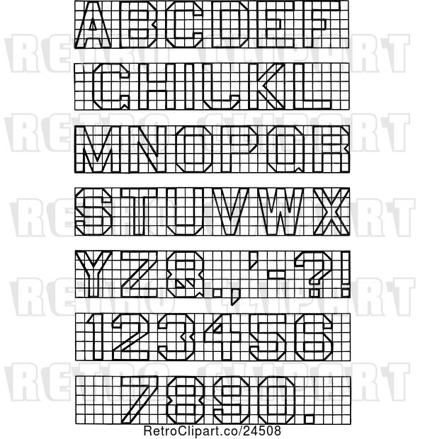 Vector Clip Art of Retro Block Lettering and Numbers