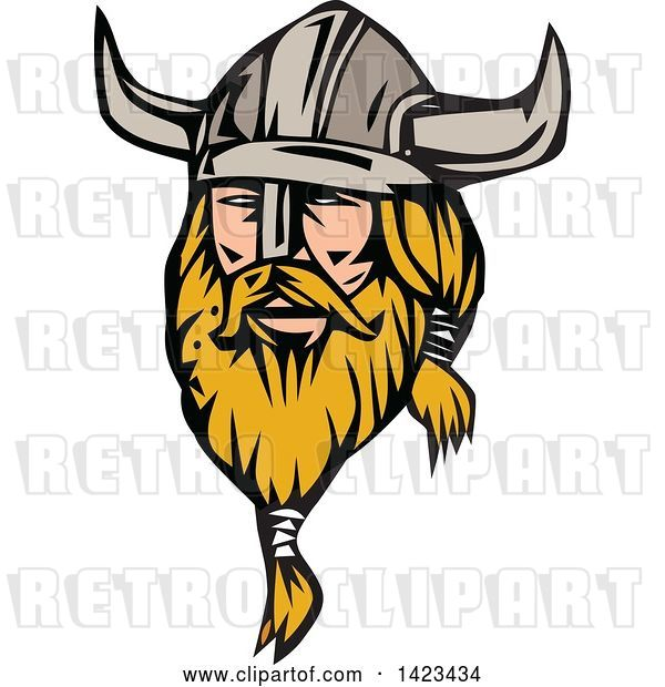 Vector Clip Art of Retro Blond Male Viking Wearing a Helmet