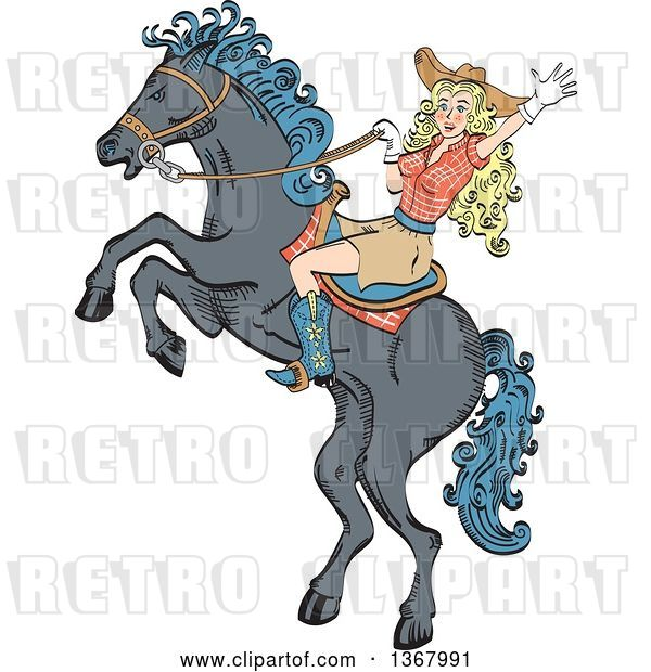 Vector Clip Art of Retro Blond White Cowgirl Waving and Riding a Rearing Horse