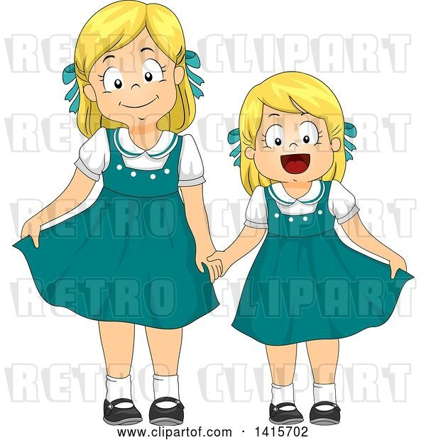Vector Clip Art of Retro Blond White Girl and Little Sister in Matching Dresses