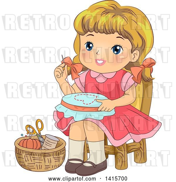 Vector Clip Art of Retro Blond White Girl Working on an Embroidery Frame