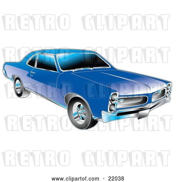 Vector Clip Art of Retro Blue 1966 Pontiac GTO Muscle Car with Crhome Detailing on the Front End and Around the Windows