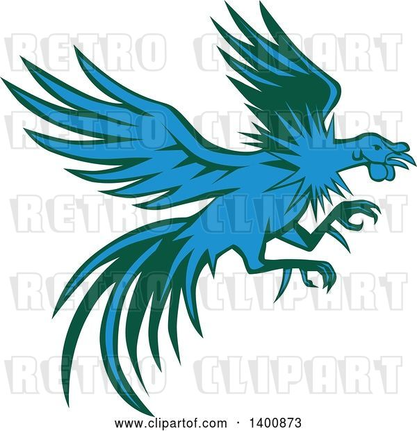 Vector Clip Art of Retro Blue and Green Flying and Fighting Rooster