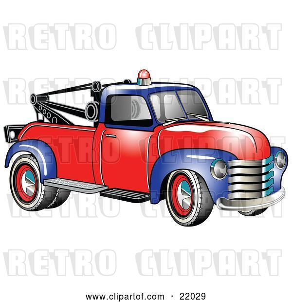 Vector Clip Art of Retro Blue and Red 1953 Chevy Tow Truck with a Light on Top of the Roof
