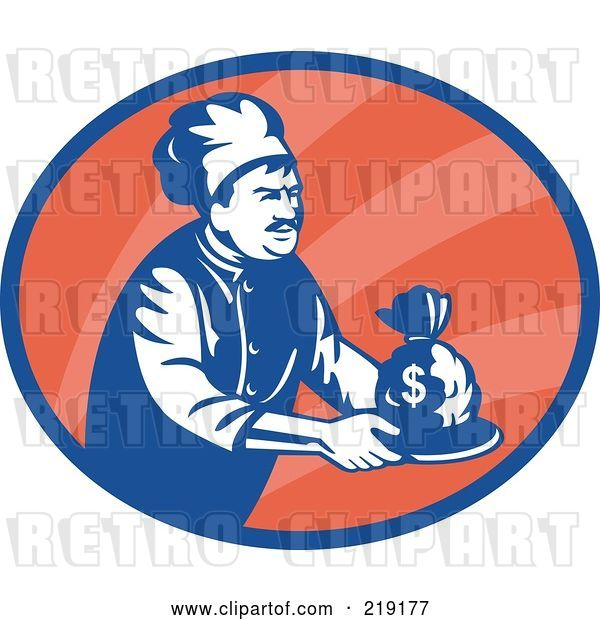 Vector Clip Art of Retro Blue and Red Chef Serving Money Logo