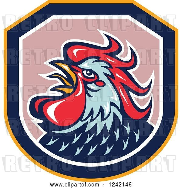 Vector Clip Art of Retro Blue and Red Rooster in a Shield