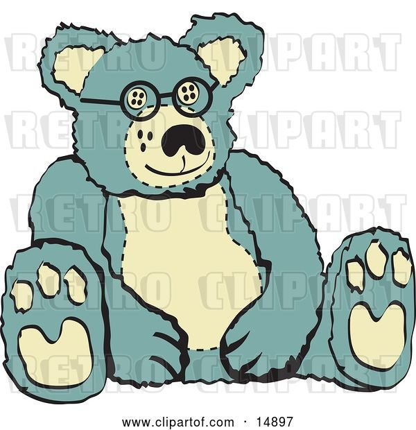 Vector Clip Art of Retro Blue and Tan Stuffed Teddy Bear Wearing Glasses