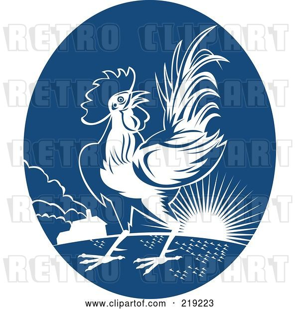 Vector Clip Art of Retro Blue and White Rooster Logo