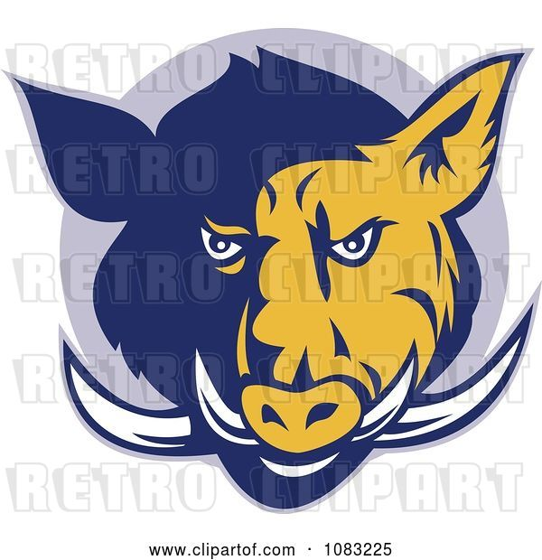 Vector Clip Art of Retro Blue and Yellow Razorback Head and Tusks