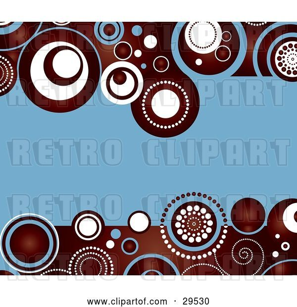 Vector Clip Art of Retro Blue Background Bordered with Deep Red, White and Blue Circle Patterns Along the Top and Bottom Edges
