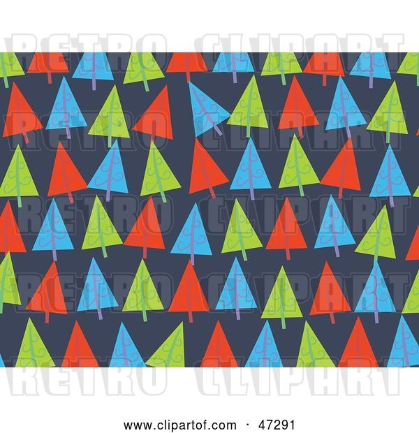 Vector Clip Art of Retro Blue Background of Christmas Trees