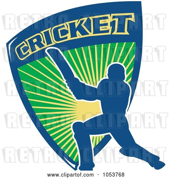 Vector Clip Art of Retro Blue Cricket Batsman with a Shield