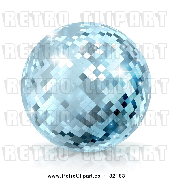 Vector Clip Art of Retro Blue Disco Mirror Ball