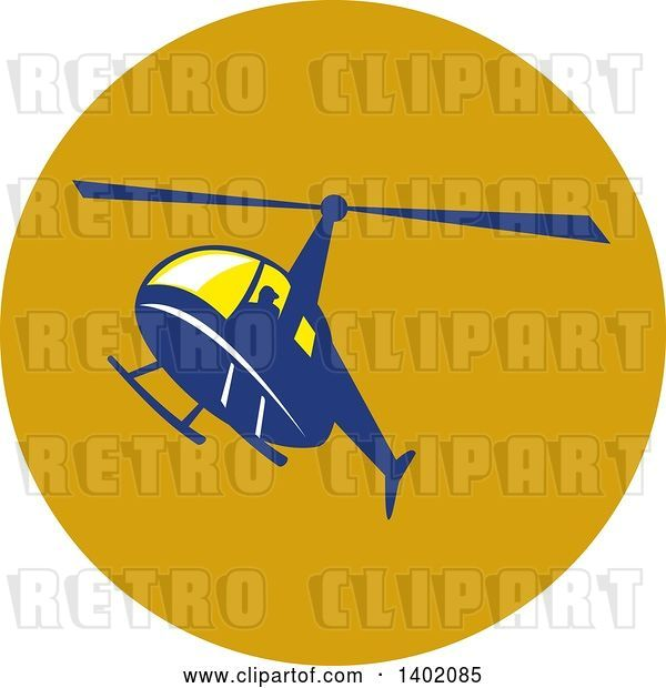 Vector Clip Art of Retro Blue Helicopter Flying in a Circle
