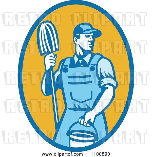 Vector Clip Art of Retro Blue Janitor Holding a Mop and Bucket over a Yellow Oval