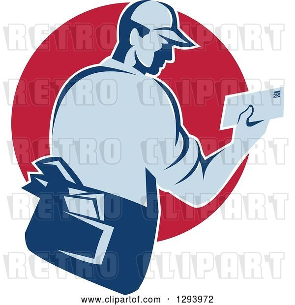 Vector Clip Art of Retro Blue Mailman Holding an Envelope in a Red Circle
