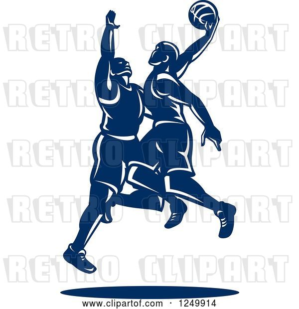 Vector Clip Art of Retro Blue Male Basketball Players
