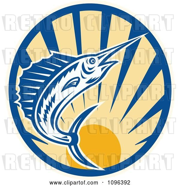 Vector Clip Art of Retro Blue Marlin Leaping over a Circle of Rays