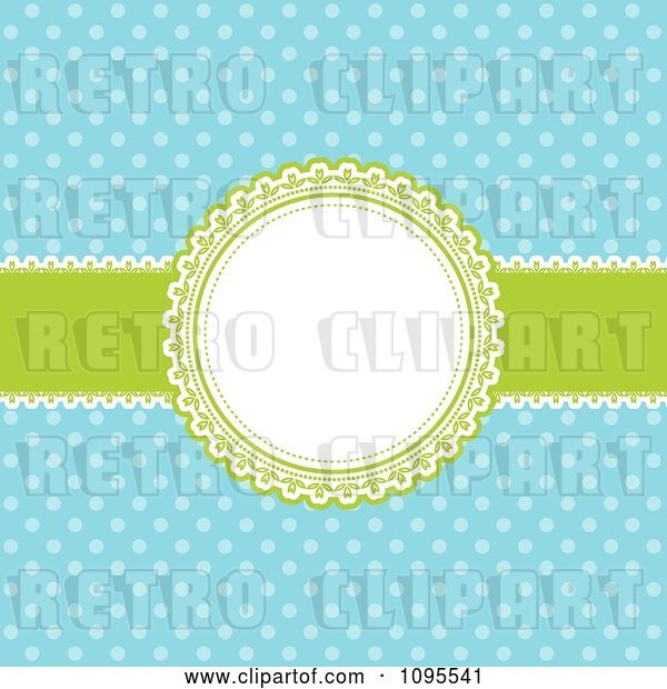 Vector Clip Art of Retro Blue Polka Dot Background with a Green and White Round Frame and Ribbon