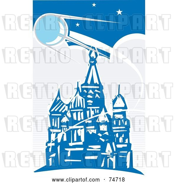 Vector Clip Art of Retro Blue Scene of Sputnik Passing over the Red Square, Style