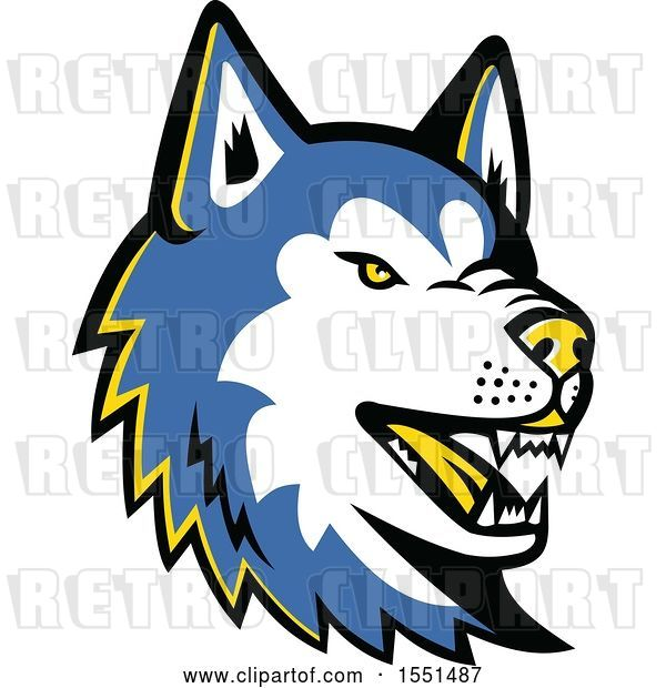Vector Clip Art of Retro Blue Siberian Husky Dog Mascot Head