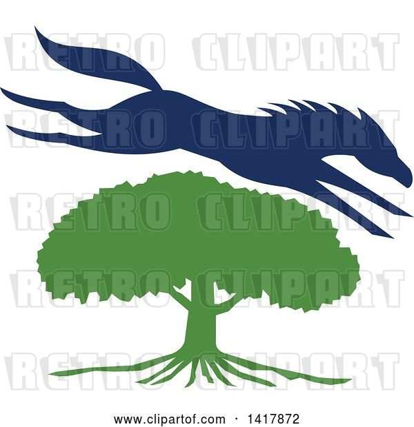 Vector Clip Art of Retro Blue Silhouetted Horse Leaping over a Green Oak Tree