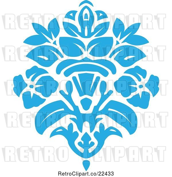 Vector Clip Art of Retro Blue Victorian Floral Damask Design Element 2