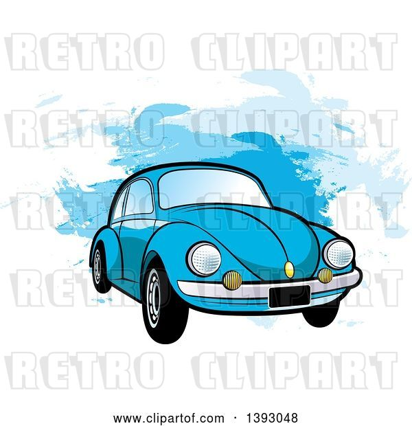 Vector Clip Art of Retro Blue VW Slug Bug Car over Blue Paint Strokes