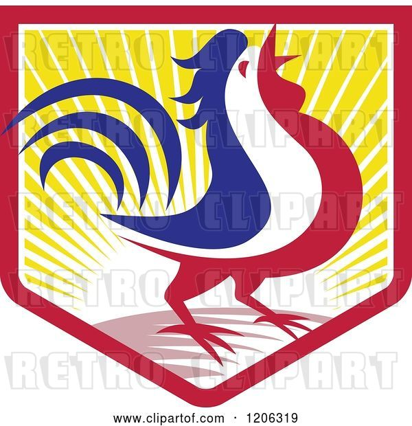 Vector Clip Art of Retro Blue White and Red Crowing Rooster in a Crest Shield of Sunshine