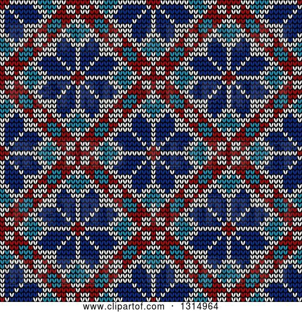 Vector Clip Art of Retro Blue White and Red Seamless Norwegian Embroidered Winter Pattern of Snowflakes in Diamonds