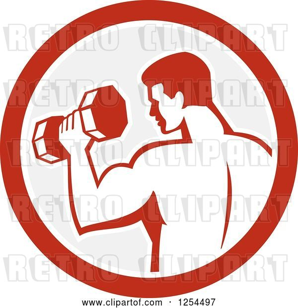 Vector Clip Art of Retro Bodybuilder Doing Bicep Curls with a Dumbbell in a Gray and Red Circle