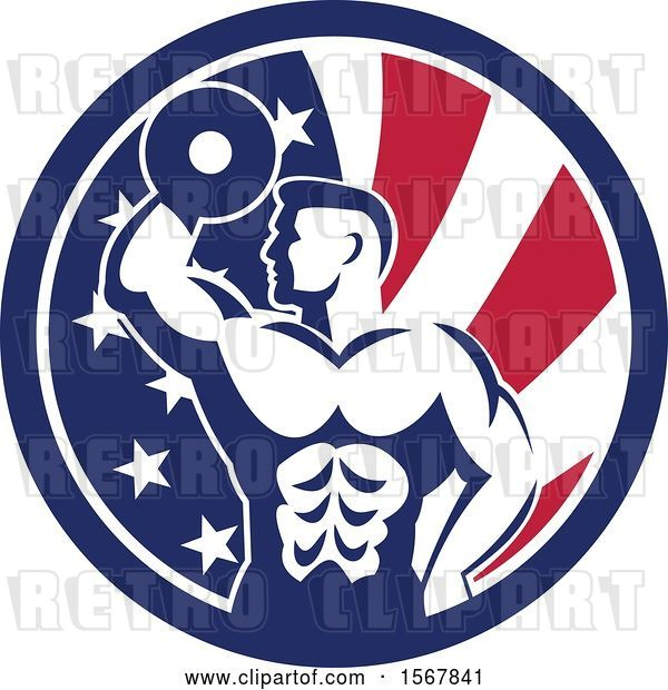 Vector Clip Art of Retro Bodybuilder Doing Bicep Curls with a Dumbbell in an American Flag Circle