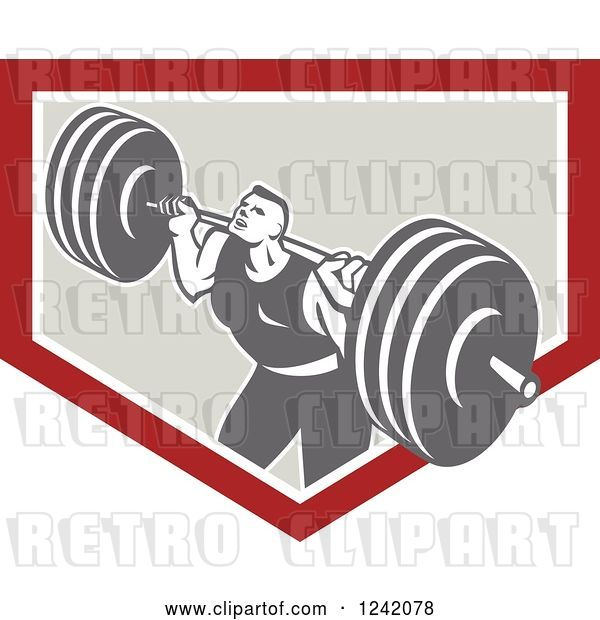 Vector Clip Art of Retro Bodybuilder Doing Squats with Dumbbells in a Shield