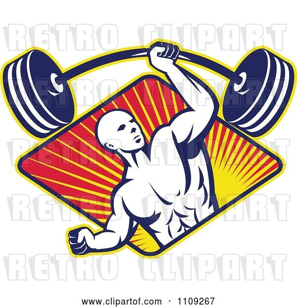 Vector Clip Art of Retro Bodybuilder Lifting a Barbell with One Hand over a Diamond of Rays