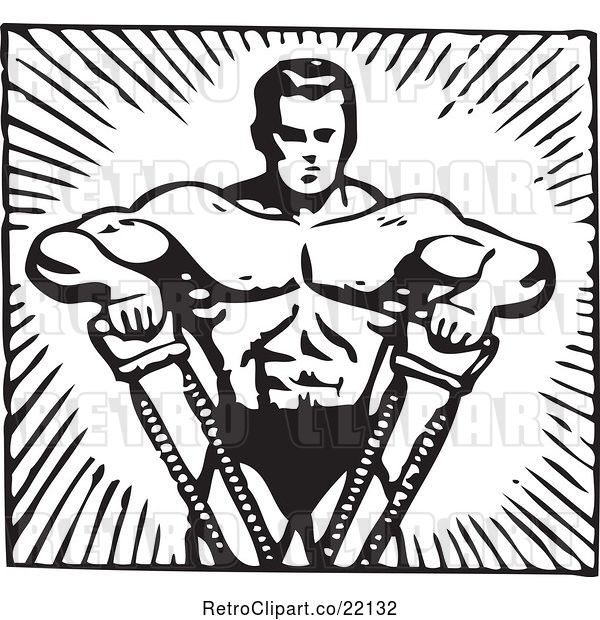 Vector Clip Art of Retro Bodybuilder Pulling with His Arms