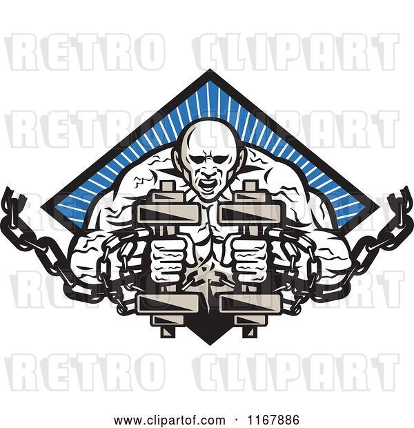 Vector Clip Art of Retro Bodybuilder with Chains and Dumbbells over a Blue Ray Diamond