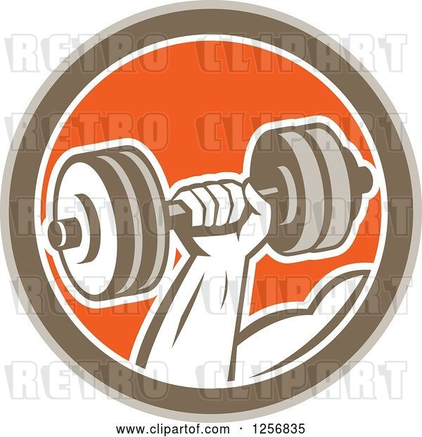 Vector Clip Art of Retro Bodybuilder's Hand Lifting a Dumbbell in a Brown White and Orange Circle