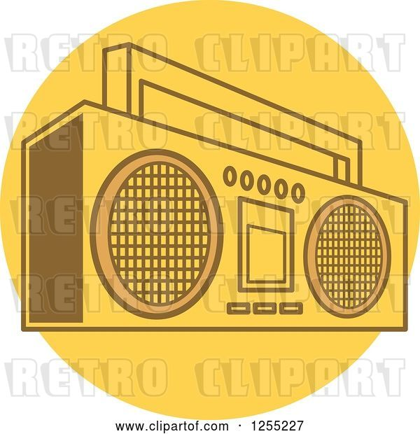 Vector Clip Art of Retro Boom Box Radio on a Yellow Circle