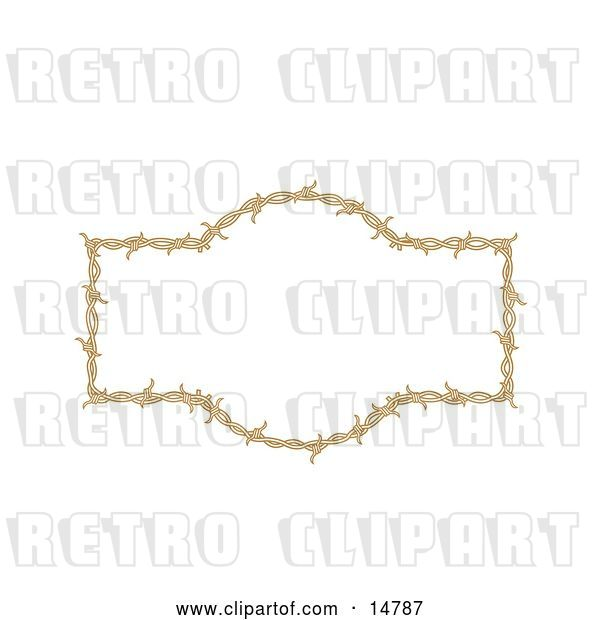 Vector Clip Art of Retro Border Frame of Barbed Wire over a White Background