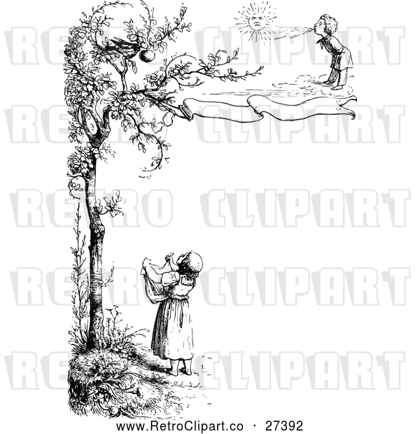 Vector Clip Art of Retro Border of Children and a Bird in a Tree