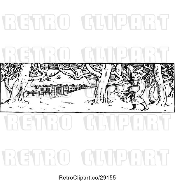 Vector Clip Art of Retro Border of Lady and Winter Cottage