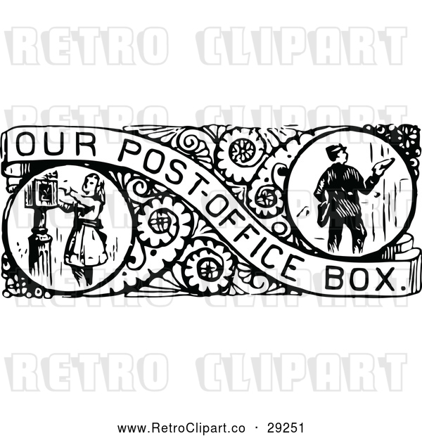 Vector Clip Art of Retro Border of Mail Boxes