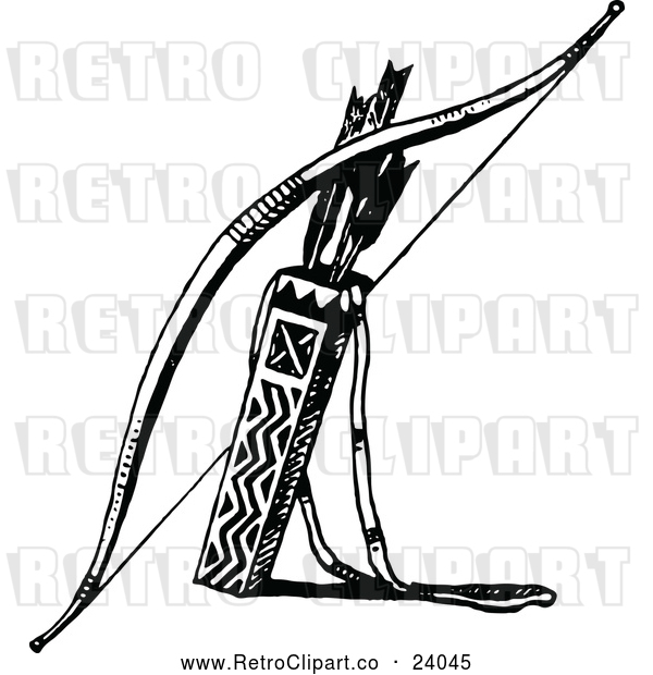 Vector Clip Art of Retro Bow with Arrows