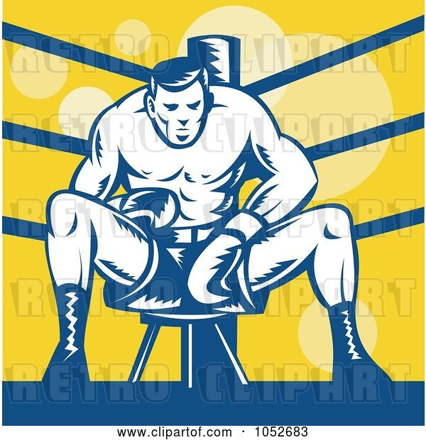 Vector Clip Art of Retro Boxer Sitting on a Stool in the Ring