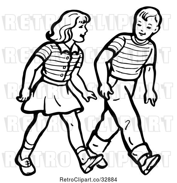 : Vector Clip Art of Retro Boy and Girl Walking in