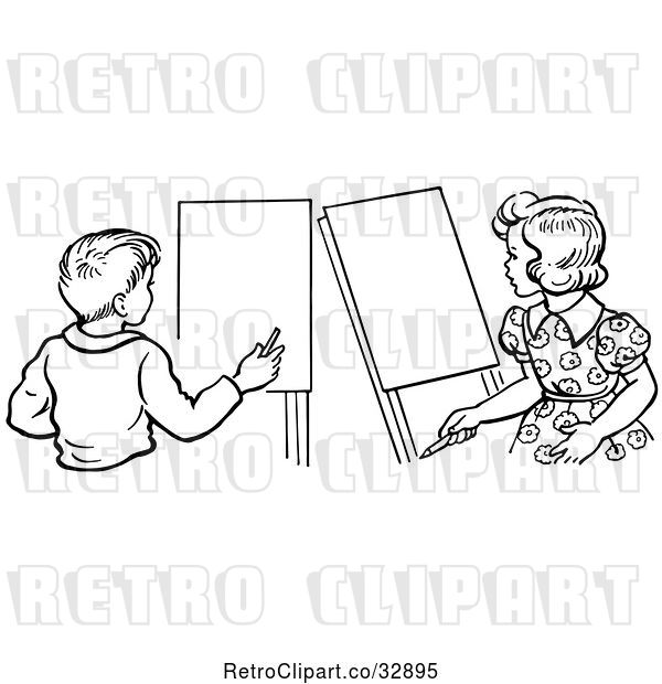 Vector Clip Art of Retro Boy and Girl with Art Easels in