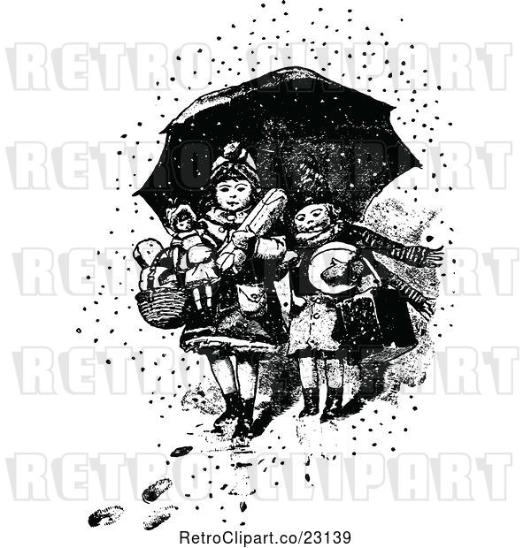 Vector Clip Art of Retro Boy and Girl with Toys Under an Umbrella in the Snow