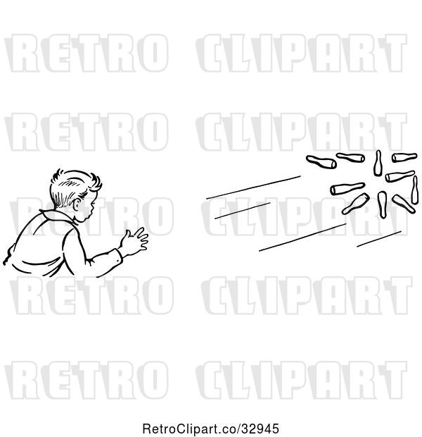 Vector Clip Art of Retro Boy Bowling